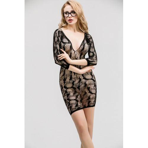 skFF7I-4100 - skFF7I-4100 Ажурное эротическое платье с рукавами 3/4