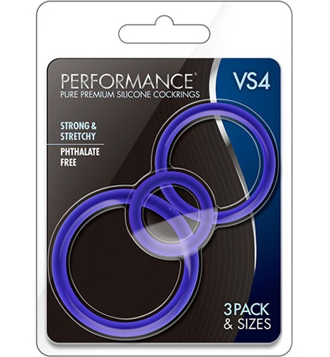 t331009 - t331009 Набор синих эрекционных колец: 3 шт, силикон, (3.2cm; 4.5cm; 5.1cm)