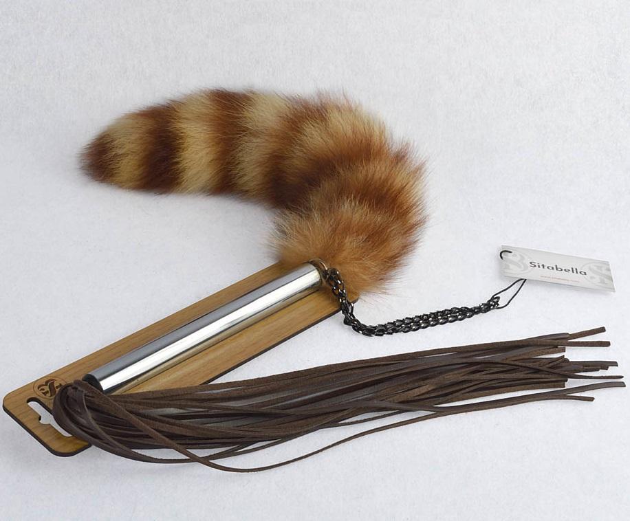 sk4214 - sk4214 Плеть - щекоталка с натуральным хвостиком